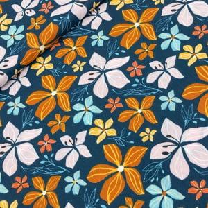 TECIDO TRICOLINE ESTAMPADO 100% ALGODÃO FABRICART COLEÇÃO FALLING IN LOVE BIG FALL FLOWERS IN BLUE
