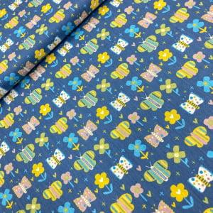 TECIDO TRICOLINE ESTAMPADO 100% ALGODÃO FABRICART COLEÇÃO OVER THE RAINBOW BLUE BUTTERFLY